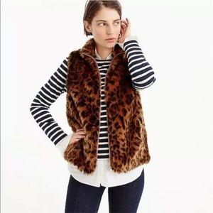 J Crew Cheetah Print Leo Faux Fur Vest